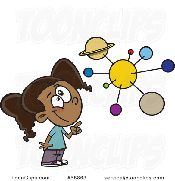 Cartoon Smart Black School Girl Looking up and Pointing at a Solar System Mobile