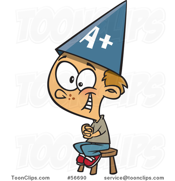 Cartoon Smart Dirty Blond White School Boy Sitting on a Stool and Wearing an a Plus Hat