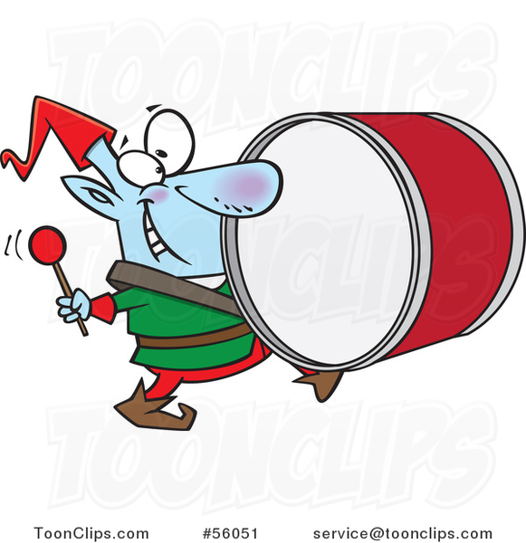 Cartoon Smiling Christmas Elf Marching and Playing the Drums