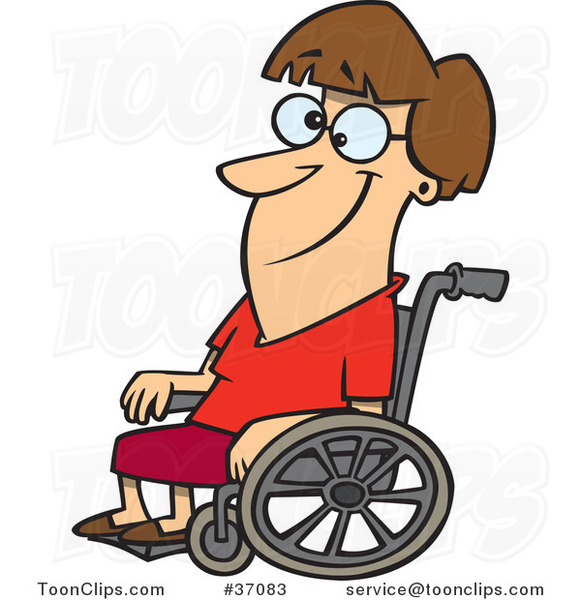 Cartoon Smiling Lady in a Wheelchair
