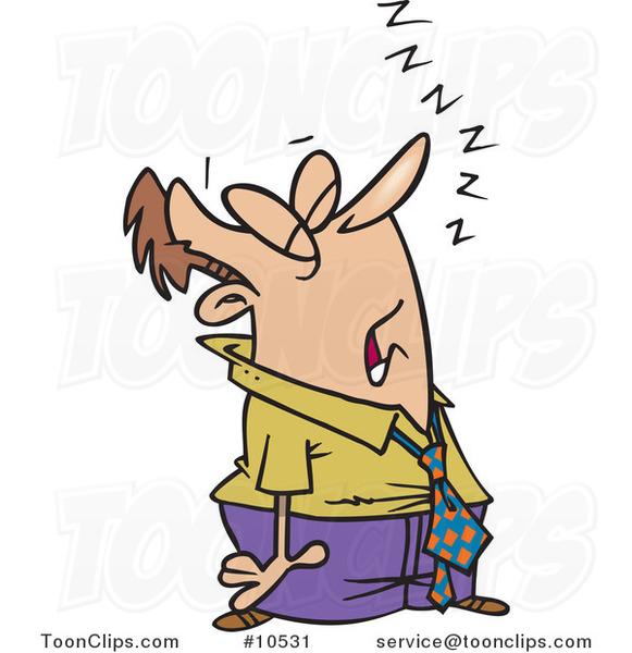 Cartoon Snoozing Business Man 10531 By Ron Leishman