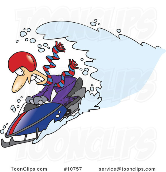 Cartoon Snow Chasing a Snowmobiling Guy