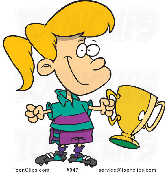 Cartoon Soccer Girl Holding a Trophy