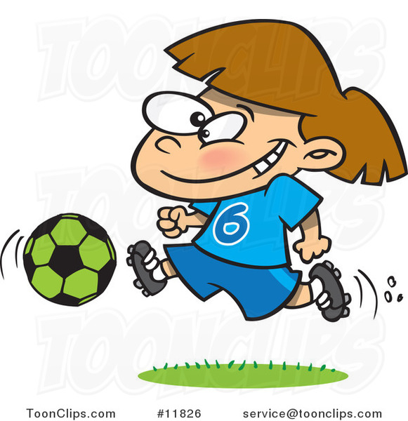 Cartoon Soccer Girl Running