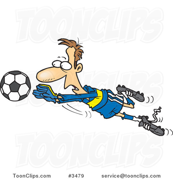 Cartoon Soccer Goalie Leaping Towards a Ball