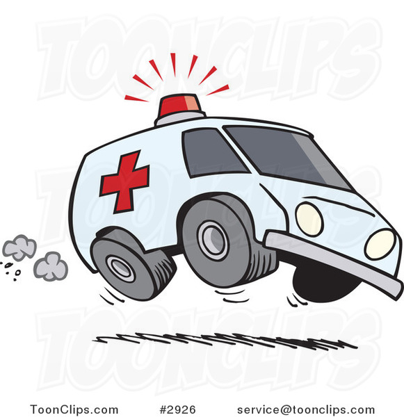 cartoon speeding ambulance 2926 by ron leishman