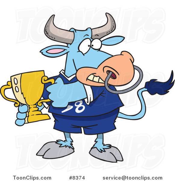 Cartoon Sports Bull Holding a Trophy Cup