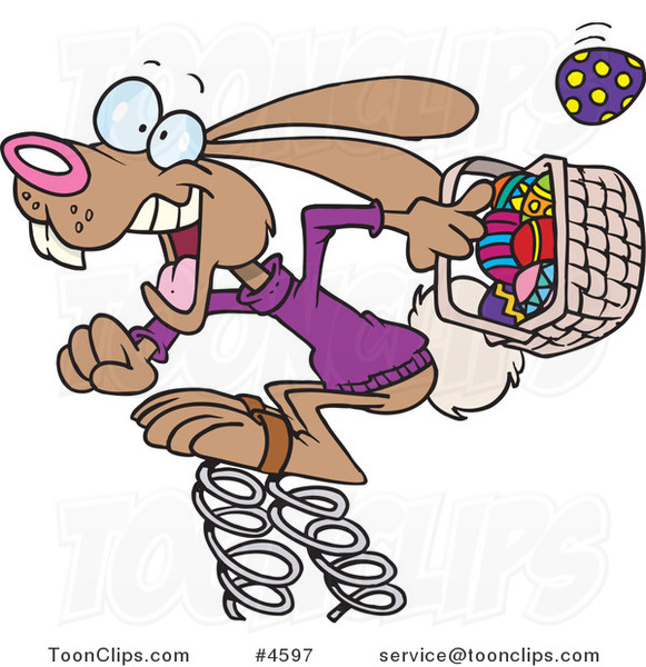 Cartoon Springy Easter Bunny