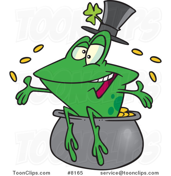 Cartoon St Patricks Day Frog on a Pot of Gold