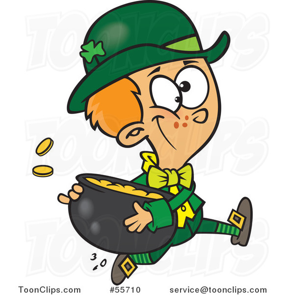 Cartoon St Patricks Day Leprechaun Boy Running with a Pot of Gold