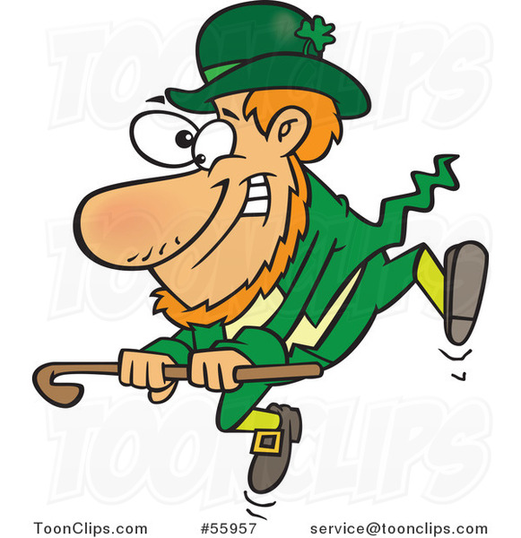 Cartoon St Patricks Day Leprechaun Dancing with a Cane