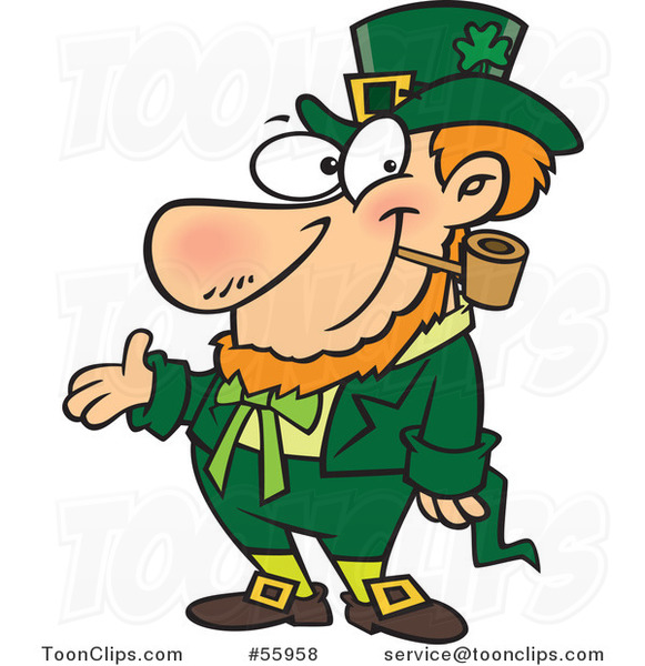 Cartoon St Patricks Day Leprechaun Presenting