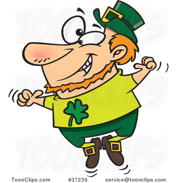 Cartoon St Patricks Leprechaun Jumping up and down