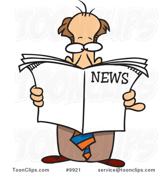 Cartoon Standing Business Man Reading the News