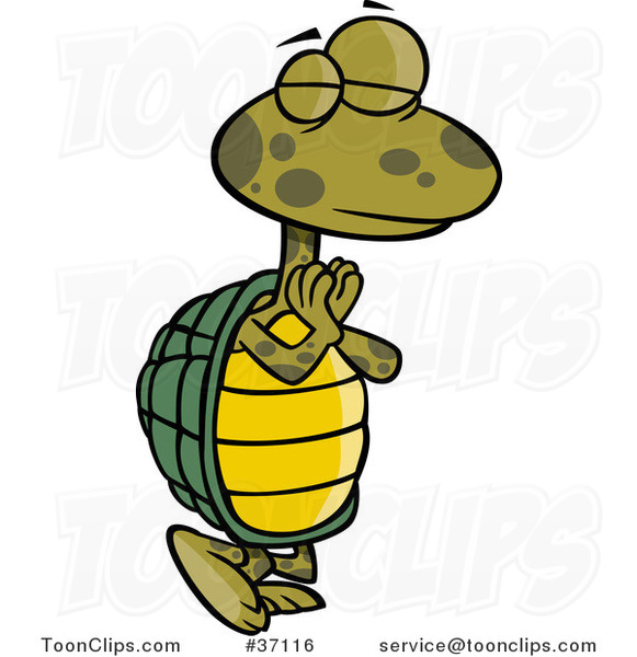 Cartoon Standing Yoga Tortoise in a Pose