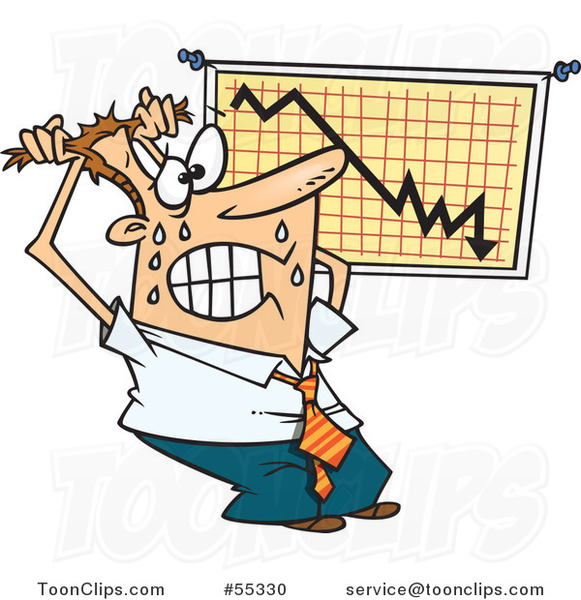 Cartoon Stressed Businessman Viewing a Recession Chart