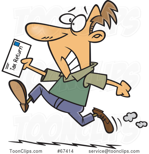 Cartoon Stressed White Guy Rushing to File His Taxes by the Deadline
