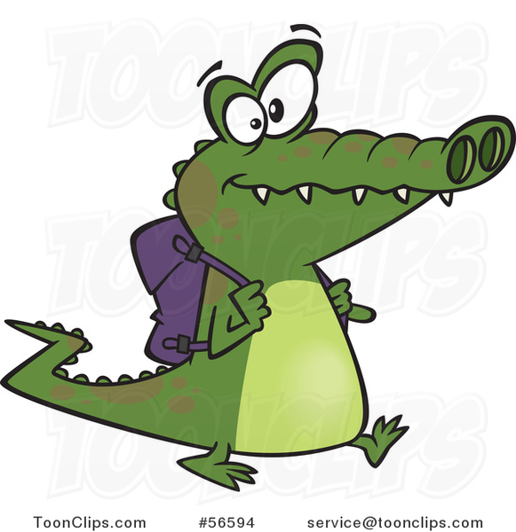 Cartoon Student Alligator Walking with a Backpack