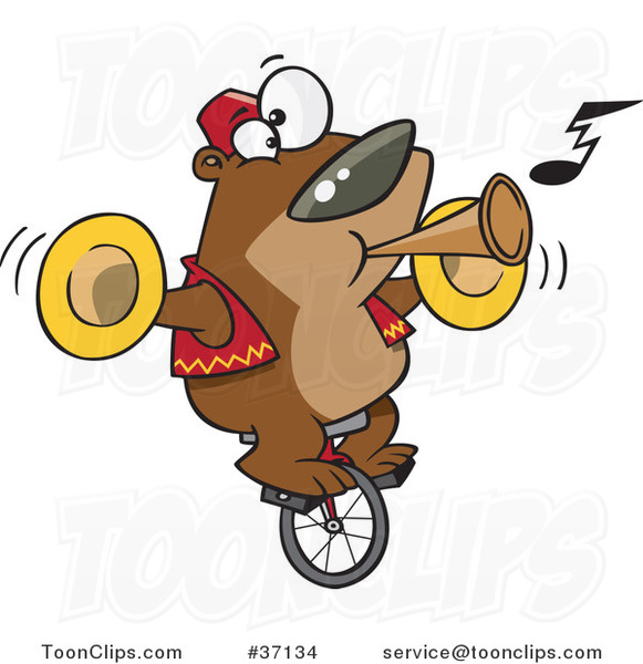 Cartoon Stunt Bear Playing Music and Riding a Unicycle