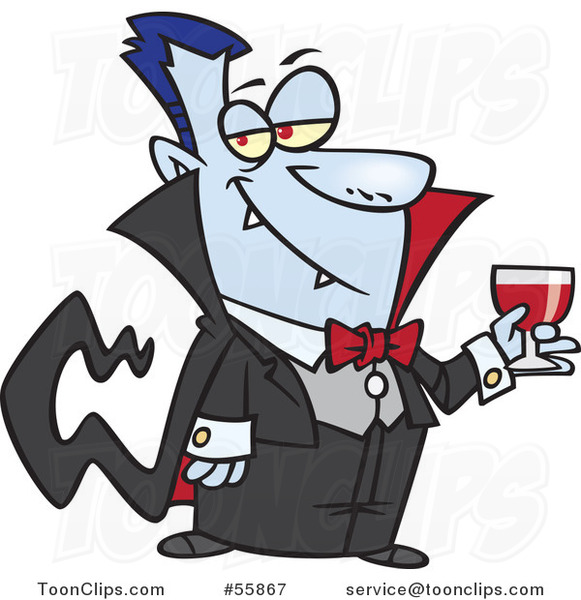 Cartoon Suave Halloween Dracula Vampire Drinking Blood