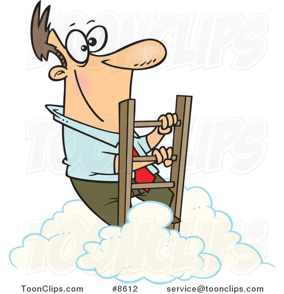 Cartoon Successful Business Man Climbing Above the Clouds