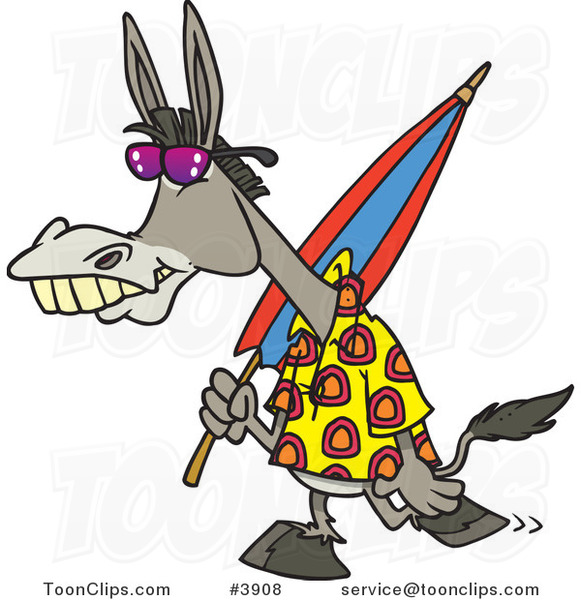 Cartoon Summer Donkey Carrying a Beach Umbrella