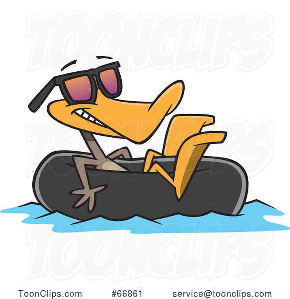 Cartoon Summer Time Duck Wearing Sunglasses and Floating in an Inner Tube