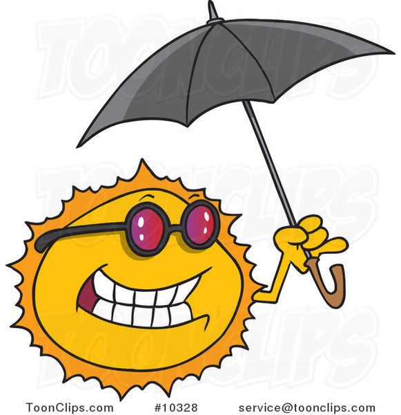 Cartoon Sun Holding an Umbrella