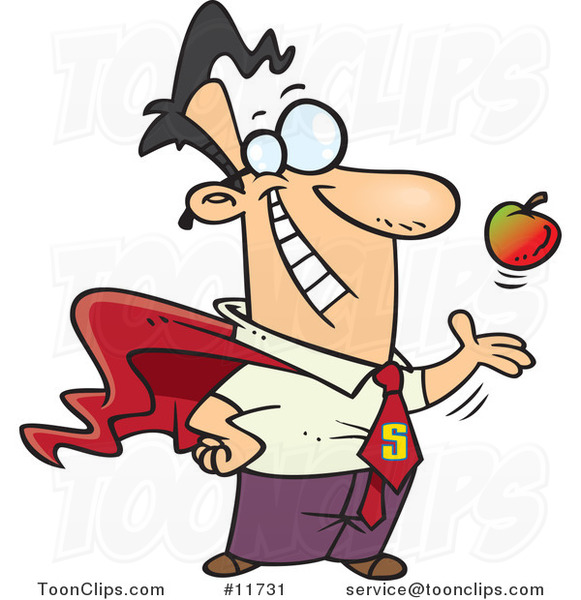 Cartoon Super Guy Tossing and Catching an Apple