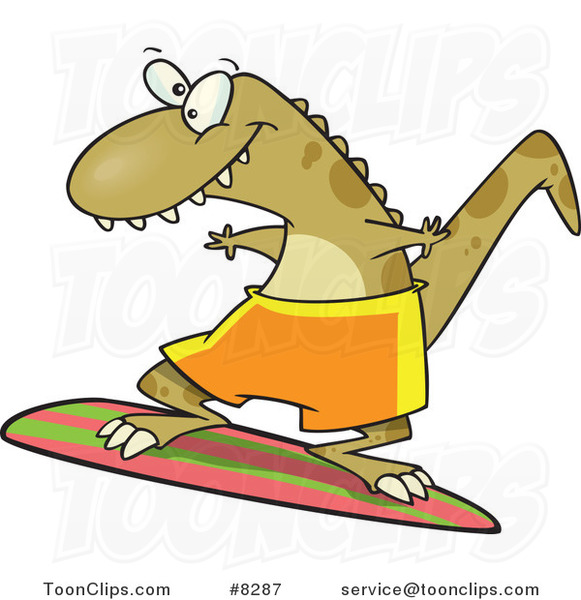 Cartoon Surfer Dinosaur