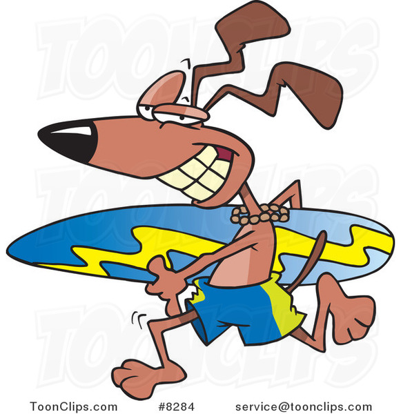 Cartoon Surfer Dog Running with a Board