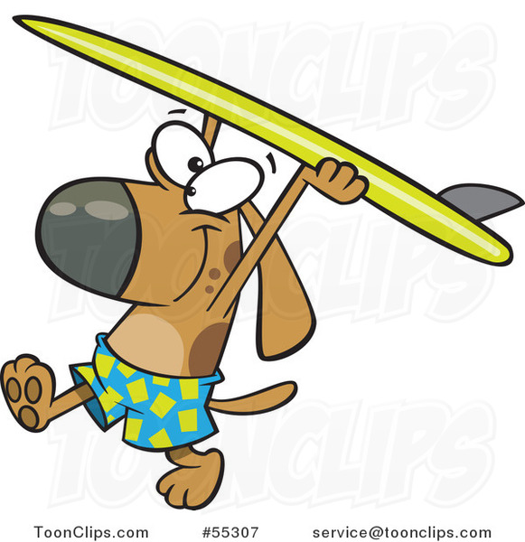 Cartoon Surfer Dog Walking with His Board over His Head