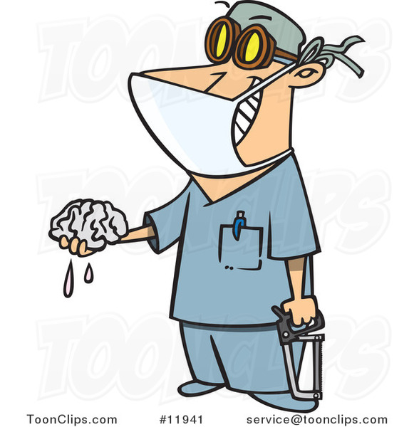 Cartoon Surgeon Holding a Saw and Brain