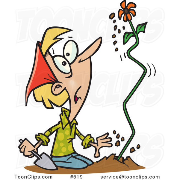Cartoon Surprised Lady Watching a Flower Shoot out of the Ground