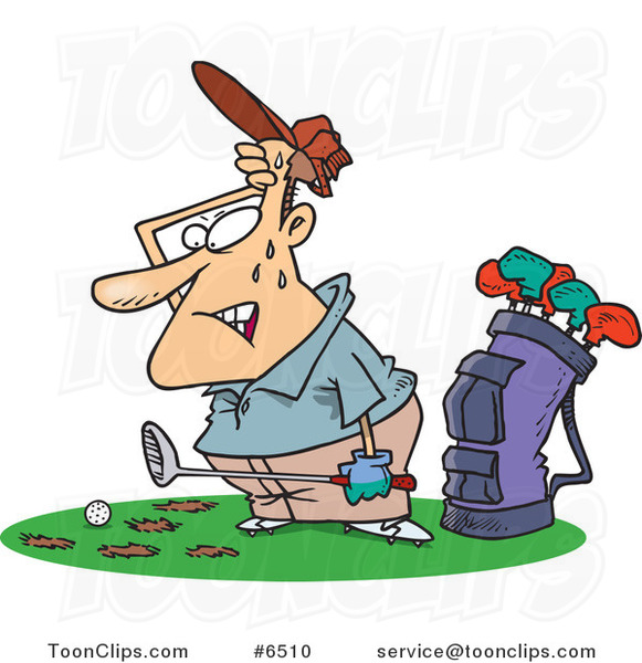 Cartoon Sweaty Golfer with Holes in the Grass