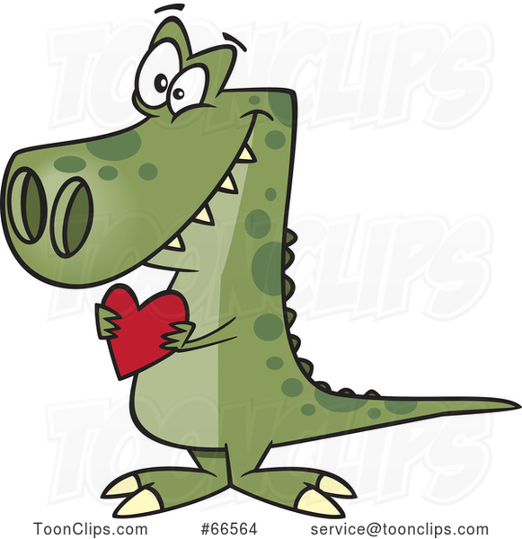 Cartoon Sweet Dinosaur Holding a Valentine Love Heart