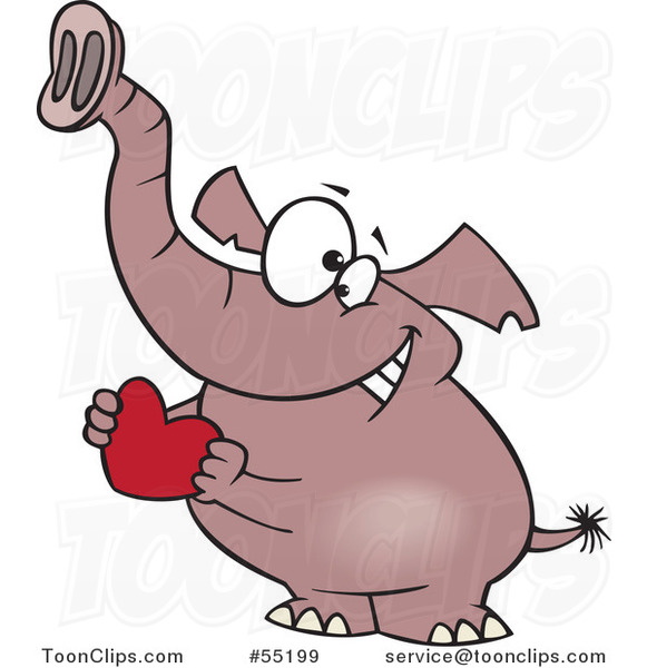 Cartoon Sweet Elephant Holding a Red Valentine Heart
