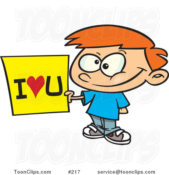 Cartoon Sweet Little Red Haired White Boy Holding an I Love You Sign