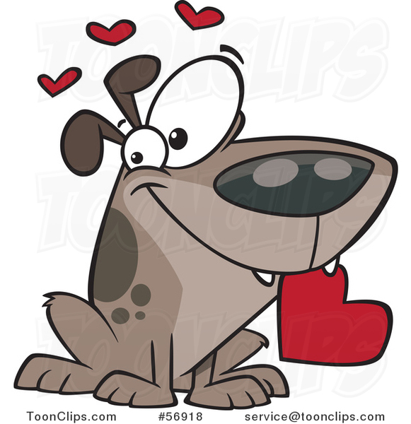 Cartoon Sweet Loving Dog Holding a Red Valentine Heart in His Mouth