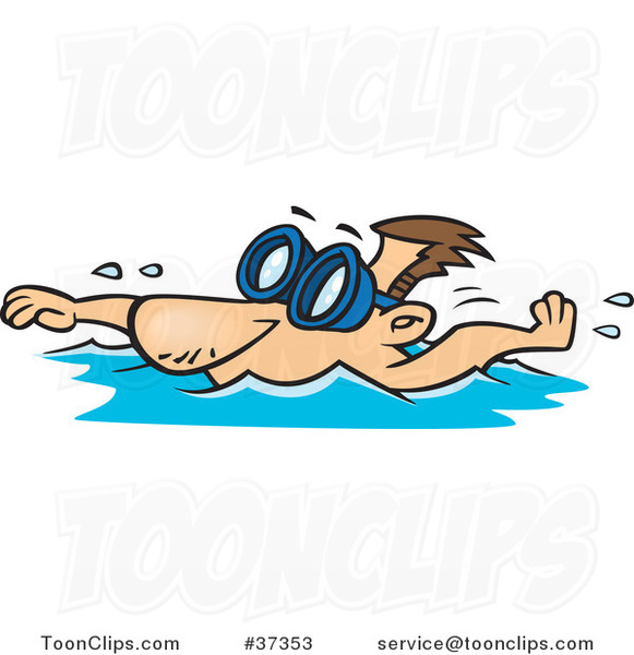 Cartoon Swimmer Wearing Goggles