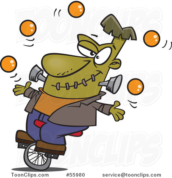 Cartoon Talented Frankenstein Juggling and Riding a Unicycle