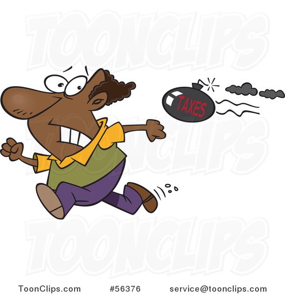 Cartoon Tax Evasion Bomb Flying Behind a Running Black Guy