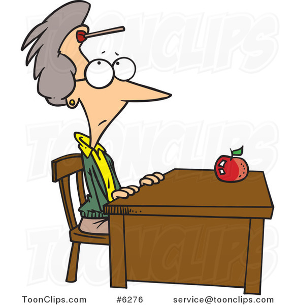 cartoon teacher sitting at her desk with a dart on her Back of Students Sitting at Desks Clip Art Working at Desk Clip Art