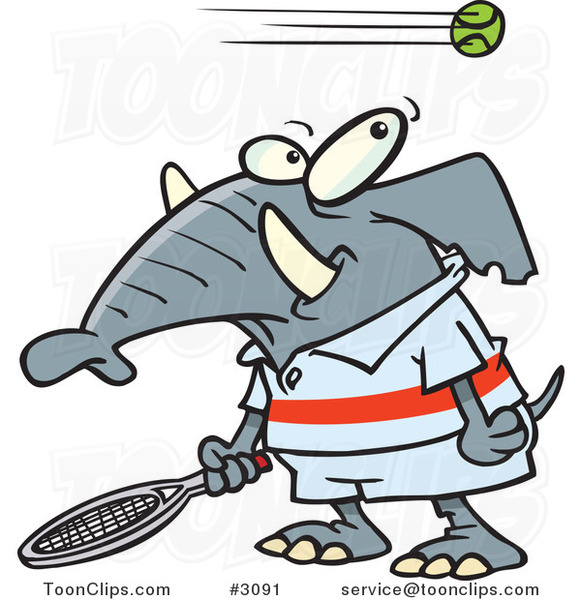 Cartoon Tennis Elephant