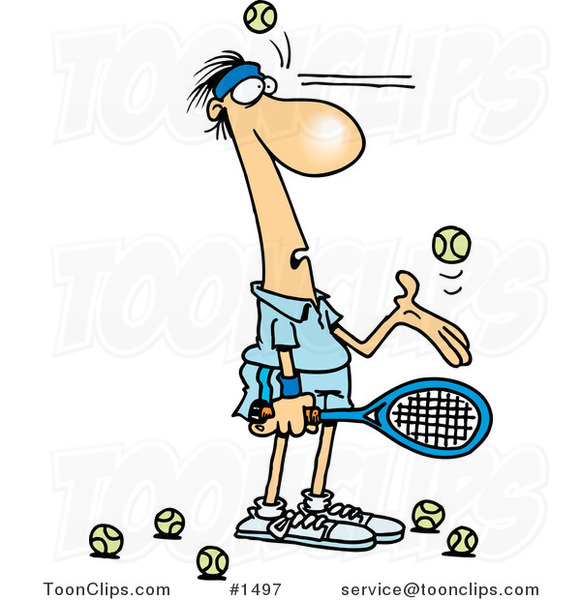 Cartoon Tennis Player Being Hit in the Face with Ball After Ball