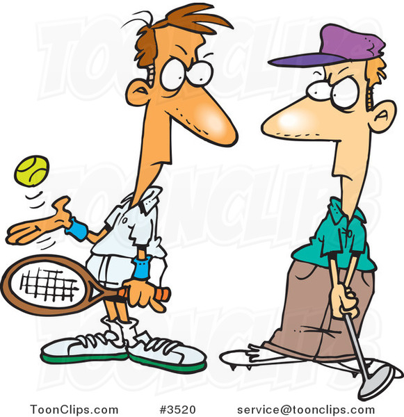 Cartoon Tennis Player Glaring at a Golfer