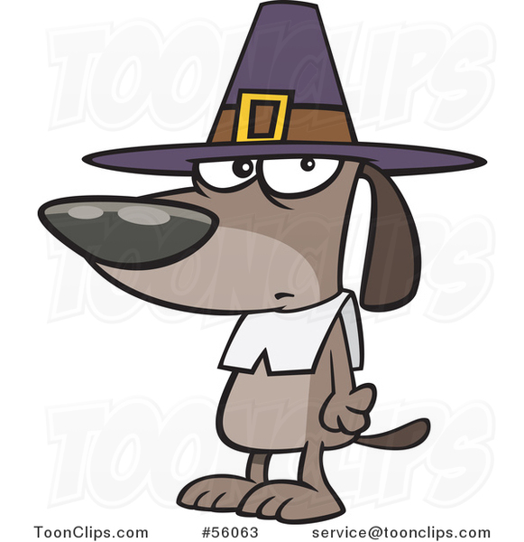 Cartoon Thanksgiving Pilgrim Dog