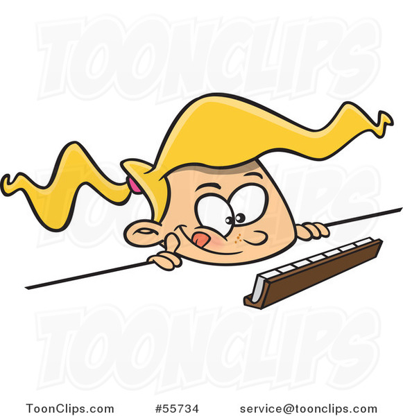 Cartoon Thinking Blond Girl Playing a Game of Scrabble