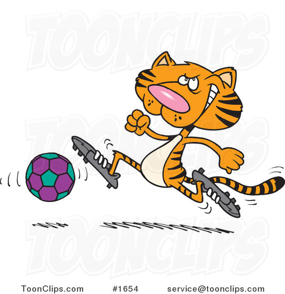 Cartoon Tiger Playing Soccer