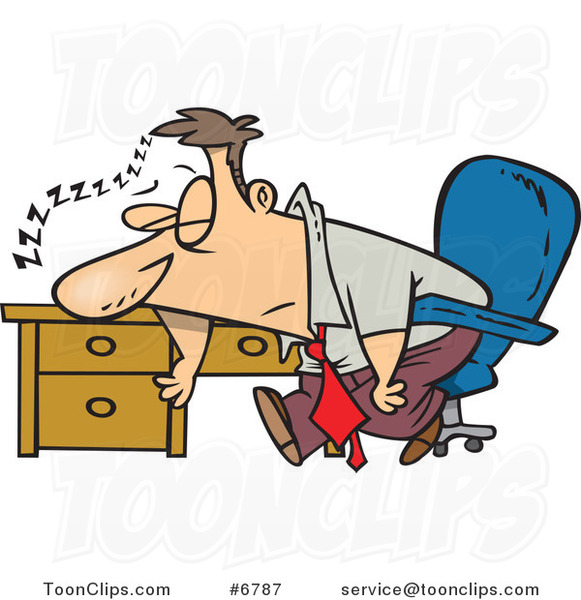 Cartoon Tired Business Man Sleeping On His Desk 6787 By
